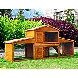 Cage a lapin poulaillier clapier en bois rongeur grande taille avec 2 etages 215x63x100cm 02
