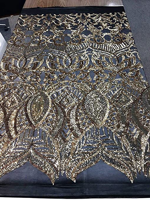 Black Royalty Design Embroider With Sequins On A 2 Way Stretch Mesh-by Yard