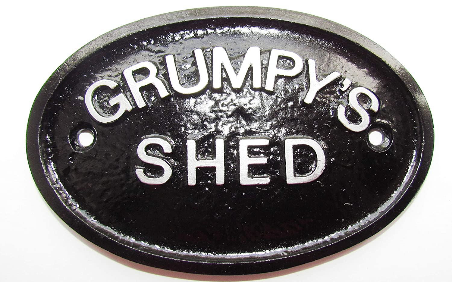 Artisan Silver Grumpy's Shed Workshop Door Sign in Black With Silver Raised Lettering Home Works