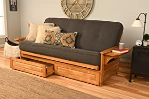 Kodiak Furniture Phoenix Full Size Futon in Butternut Finish with Storage Drawers, Linen Charcoal