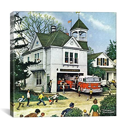 iCanvasART The New American LaFrance is Here Firehouse by Norman Rockwell Canvas Art Print, 18 by 18-Inch