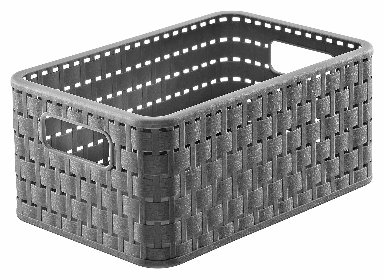 Rotho Lattice Effect Storage Basket Medium, 18cm x 28cm x 12.5cm - Slate Grey 1152018