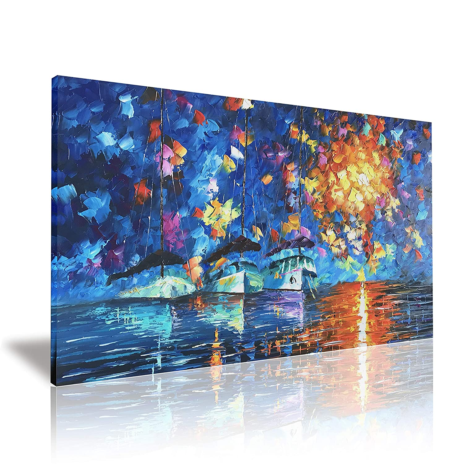 Yh-a04 24x36inch Zoyart 100% Hand Painted Abstract Oil Paintings on Canvas Wall Art Ballet Dancers 2 Pieces Contemporary Paintings Wall Decorations for Living Room Bedroom Decor Ready to Hang 24x20inchx2