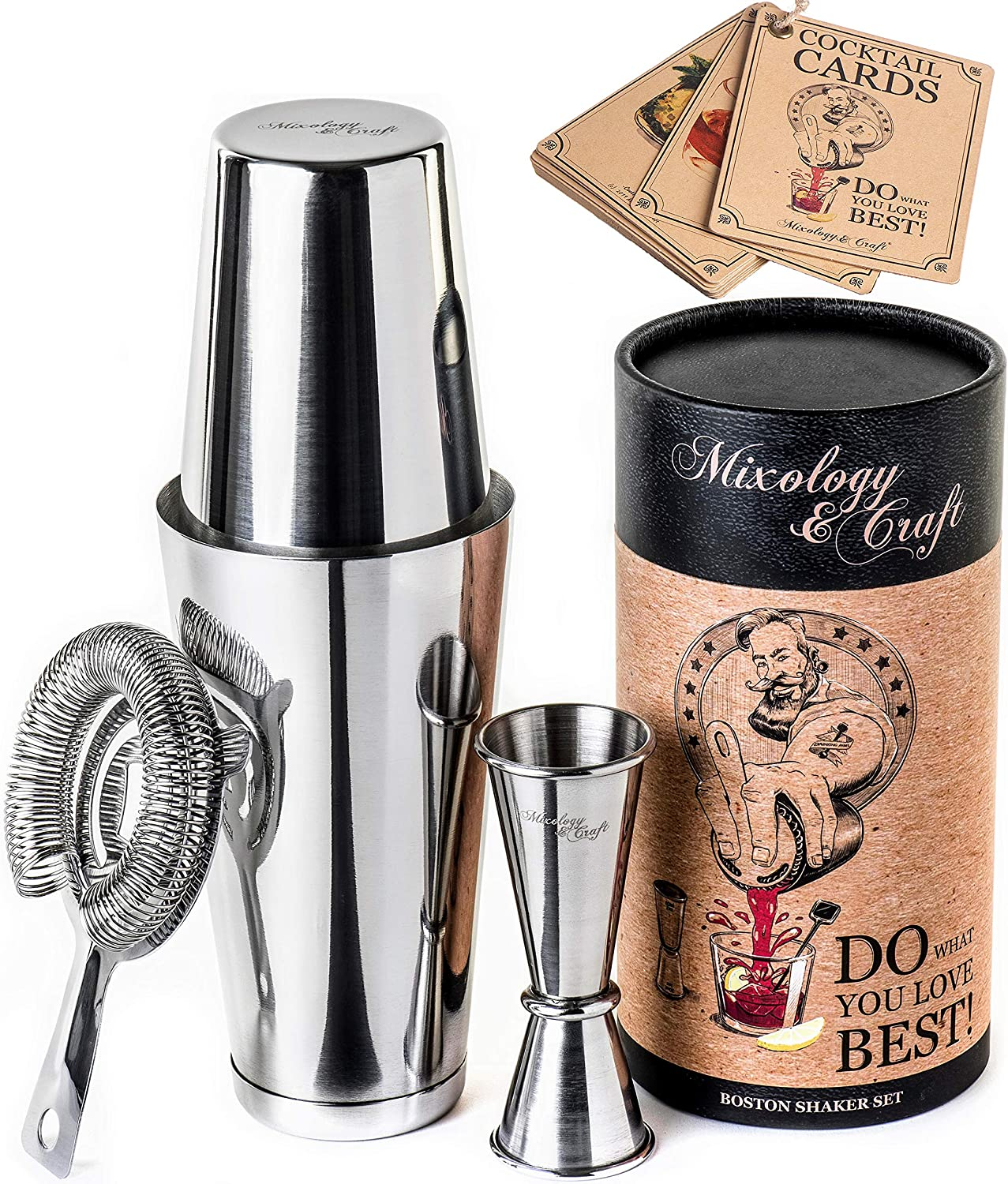 Cocktail Shaker Boston Shaker Set: Professional Weighted Martini Shakers with Cocktail Strainer and Japanese Jigger | Portable Bar Shaker Set for Drink Mixer Bartending | Exclusive Recipes Bonus