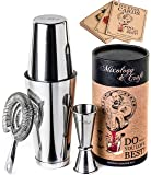 Cocktail Shaker Boston Shaker Set: Professional Weighted Martini Shakers with Cocktail Strainer and Japanese Jigger…