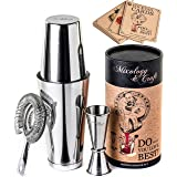 Cocktail Shaker Boston Shaker Set: Professional Weighted Martini Shakers, Cocktail Strainer and Japanese Jigger | Portable Ba