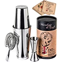 Cocktail Shaker Boston Shaker Set: Professional Weighted Martini Shakers, Cocktail Strainer and Japanese Jigger…
