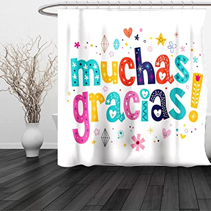 HAIXIA Shower Curtain Mexican Spanish Thank You Quote With Cartoon Style Hearts Diamonds Flowers Artwork Multicolor