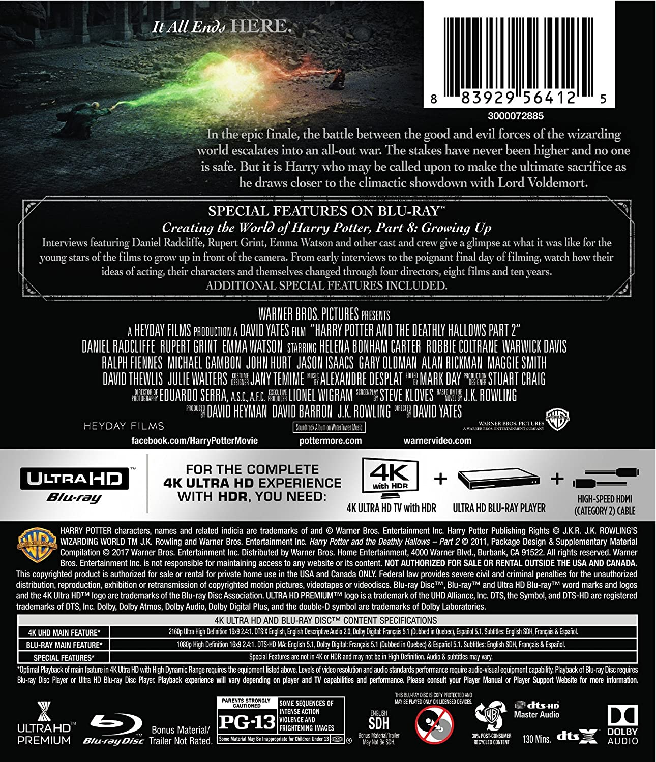 Harry Potter and the Deathly Hallows: Part 2 USA Blu-ray: Amazon ...