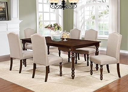 Amazon.com - GTU Furniture 7-piece Walnut Finish Oversized ...