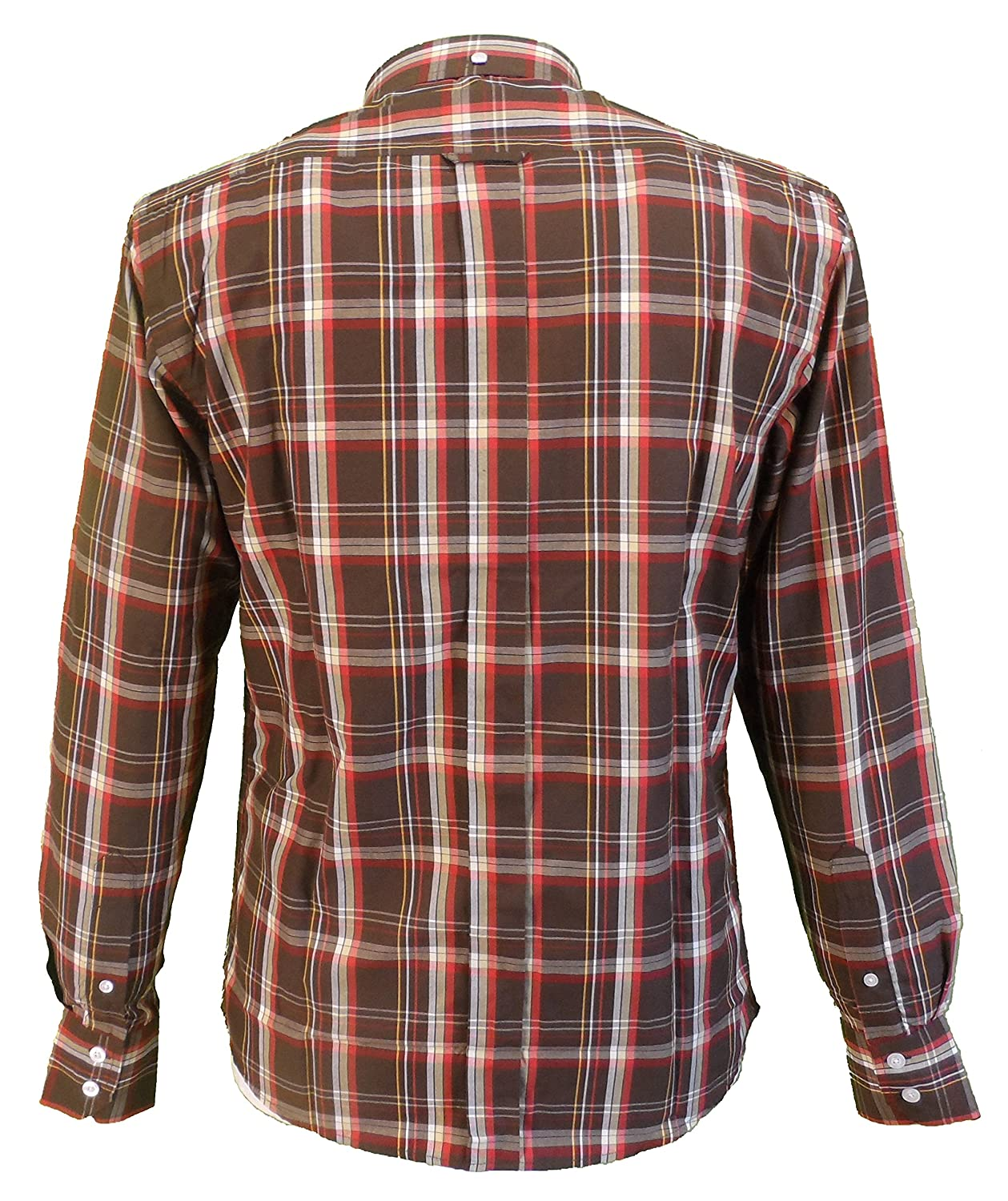 Relco Brown Checked PolyCotton Long Sleeved Vintage//Retro Mod Button Down shirt