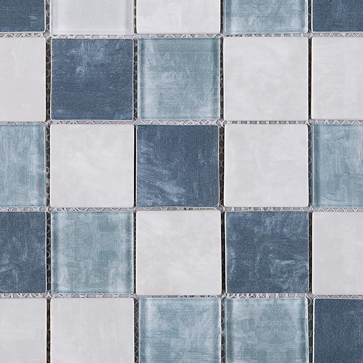 - Amazon.com: TREGLG-01 Blue And White 2x2 Grid Recycle Glass Mosaic
