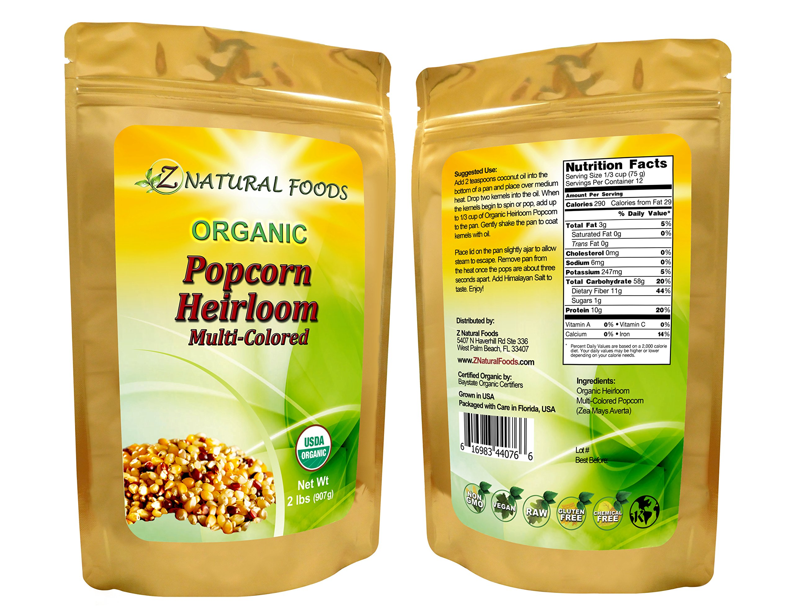 All-Natural, Raw Heirloom Popcorn Kernels, Unpopped, Multi-colored - High Fiber, Non-GMO, USDA Certified Organic, 32 oz (2 lbs)