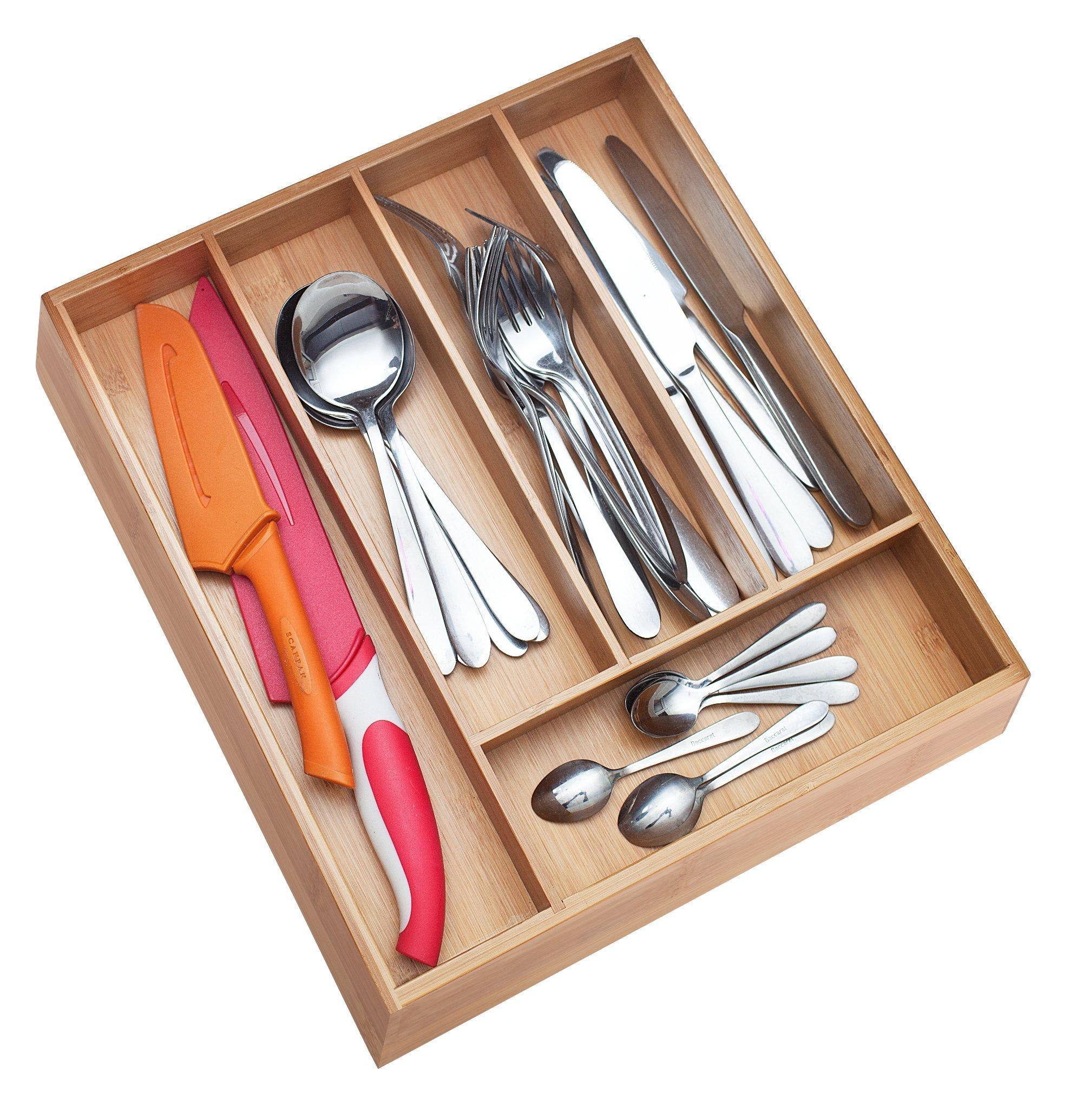 ✔ Premium, Extra Deep, Non-slip, 5-Slot Silverware Organizer| Bamboo Wood Utensil Drawer Organizer| Wooden Flatware Holder, Cutlery Tray, Kitchen Drawer Dividers by PRISTINE BAMBOO (9.8 x 13.5 x 2.4)