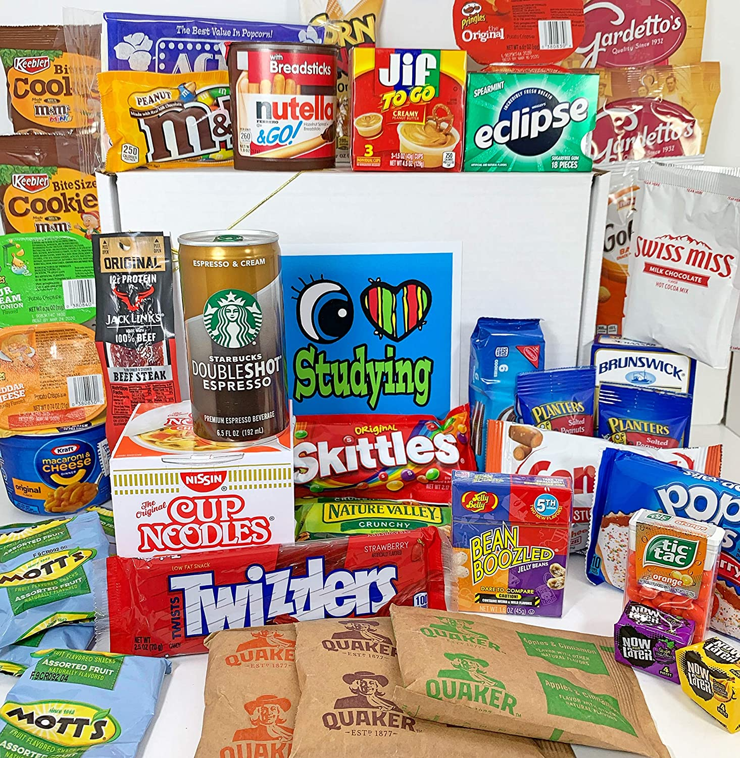 "Ultimate College Care Package ""I Love Studying"" Gift Box Basket - We've Got the Good Stuff! - Over 6 Pounds, 44 Items - HS, Undergrad, Graduate, Military, Graduate, Doctoral, Officer Training - Prime"