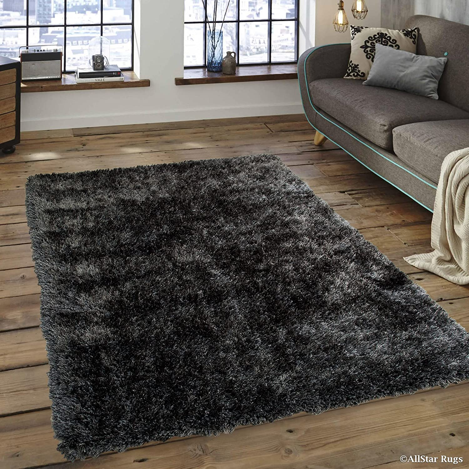 Amazon Com Allstar 4 X 5 Grey Chic Thick Soft And Shaggy Solid Area