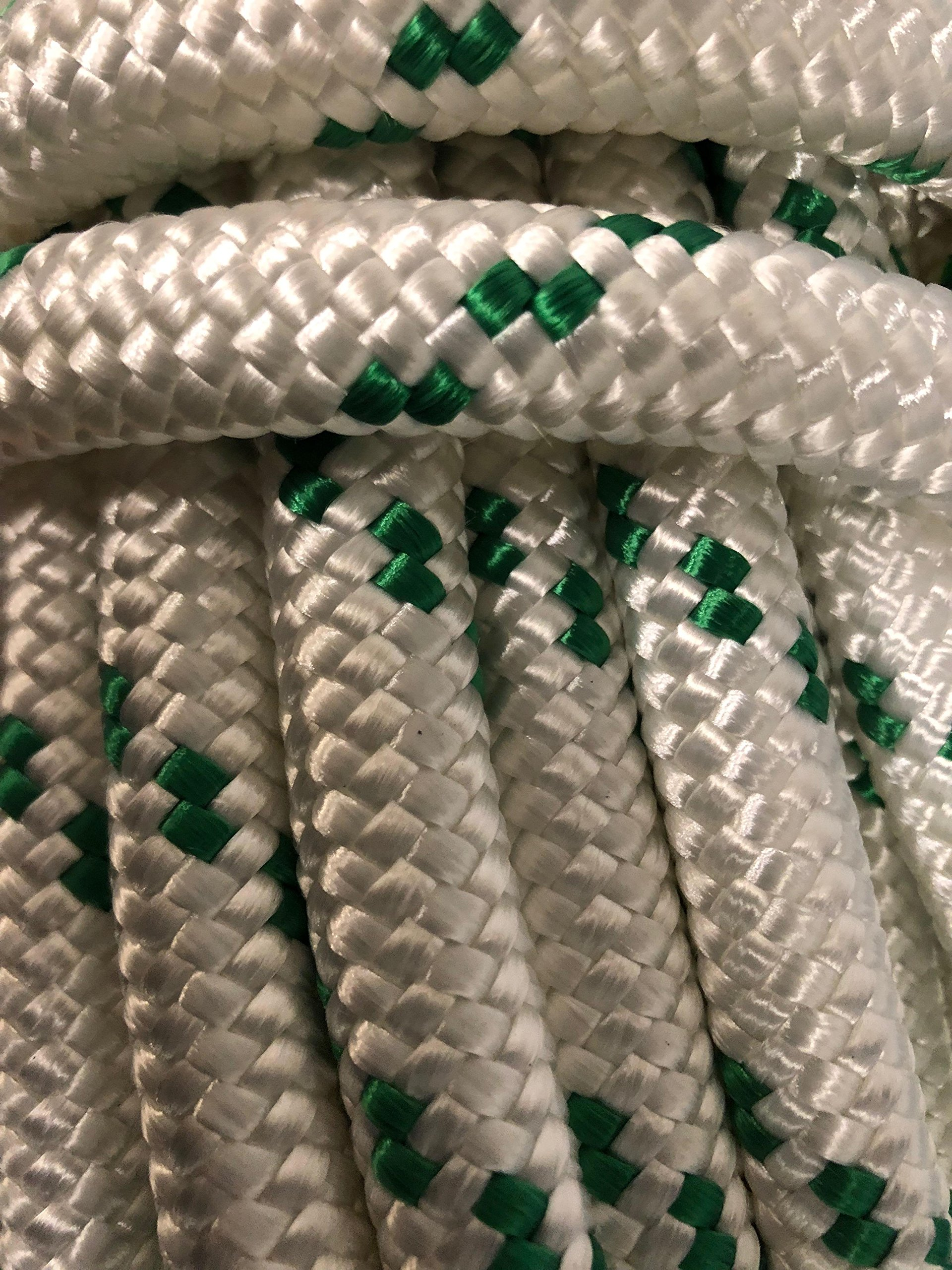 9/16'' Double Braided Polyester Rope, White/Green (100) by Blue Ox Rope (Image #1)