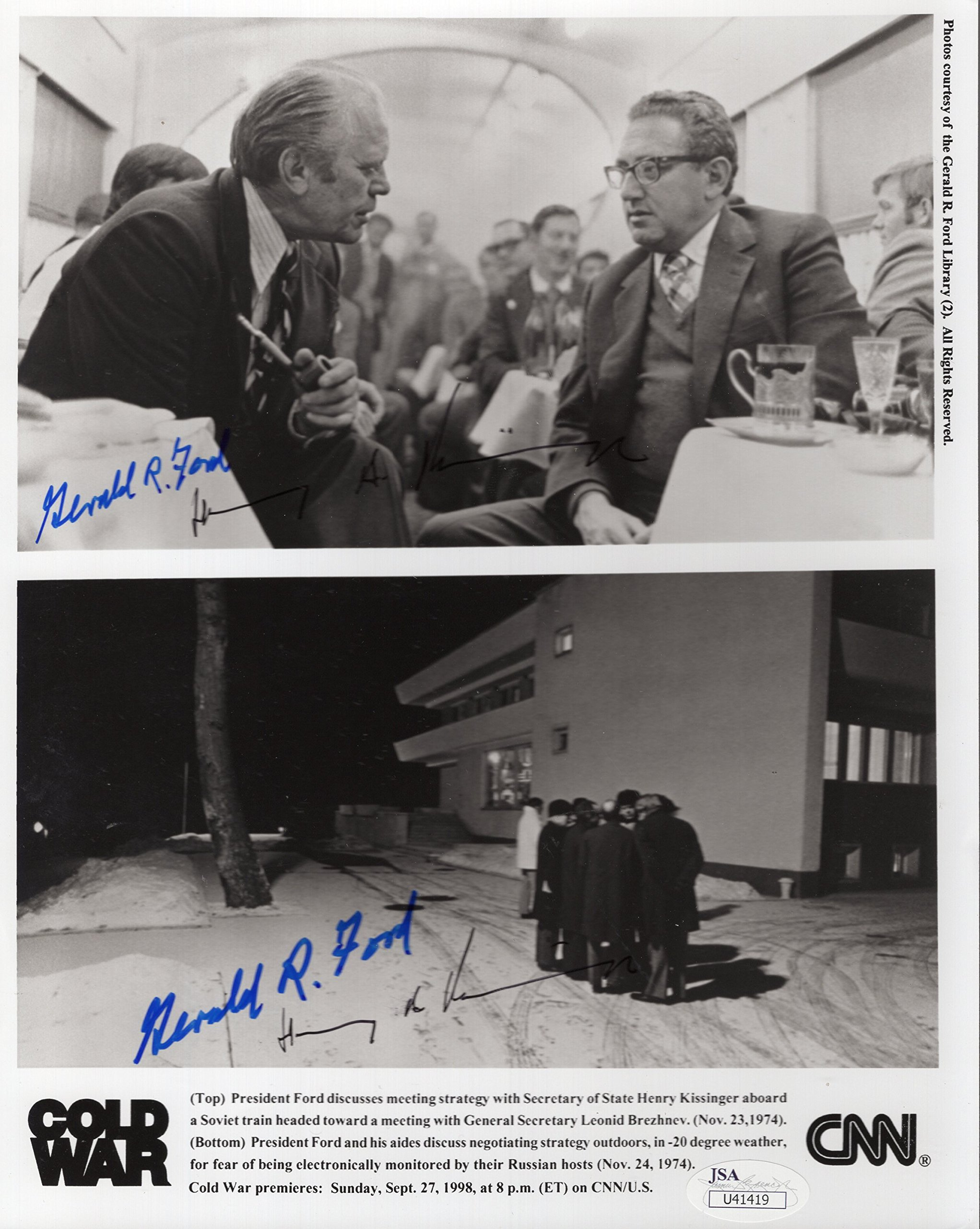 GERALD FORD+HENRY KISSENGER AUTOGRAPHED 8x10 PHOTO+JSA SIGNED TWICE BY BOTH