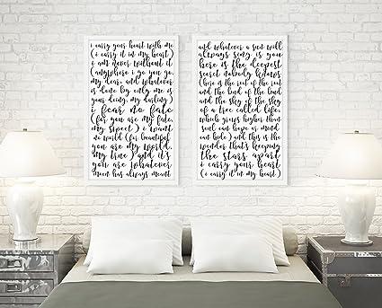 I Carry Your Heart Poem Artwork Prints / Set Of 2 Prints / Love Poem /