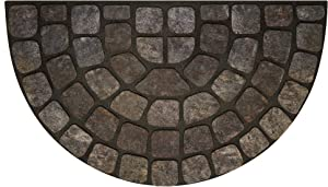 """Achim Home Furnishings RRM1830GS6 Grey Stone Slice Raised Rubber Door Mat, 18 by 30"""", Black"""