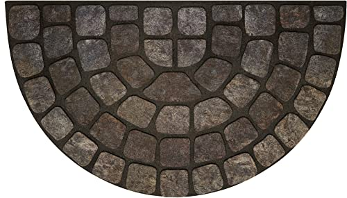 Achim Home Furnishings RRM1830GS6 Grey Stone Slice Raised Rubber Door Mat, 18 by 30 , Black