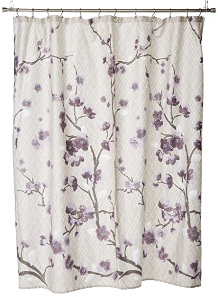 Madison Park Holly Modern Cotton Fabric Long Shower Curtain Floral Curtains For Bathroom