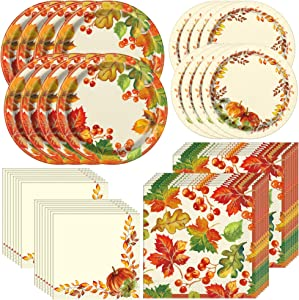 Unique Watercolor Fall Pumpkins Tableware Essentials | Dinner & Dessert Plates, Luncheon & Beverage Napkins | Autumn, Fall, Thanksgiving Table Decorations