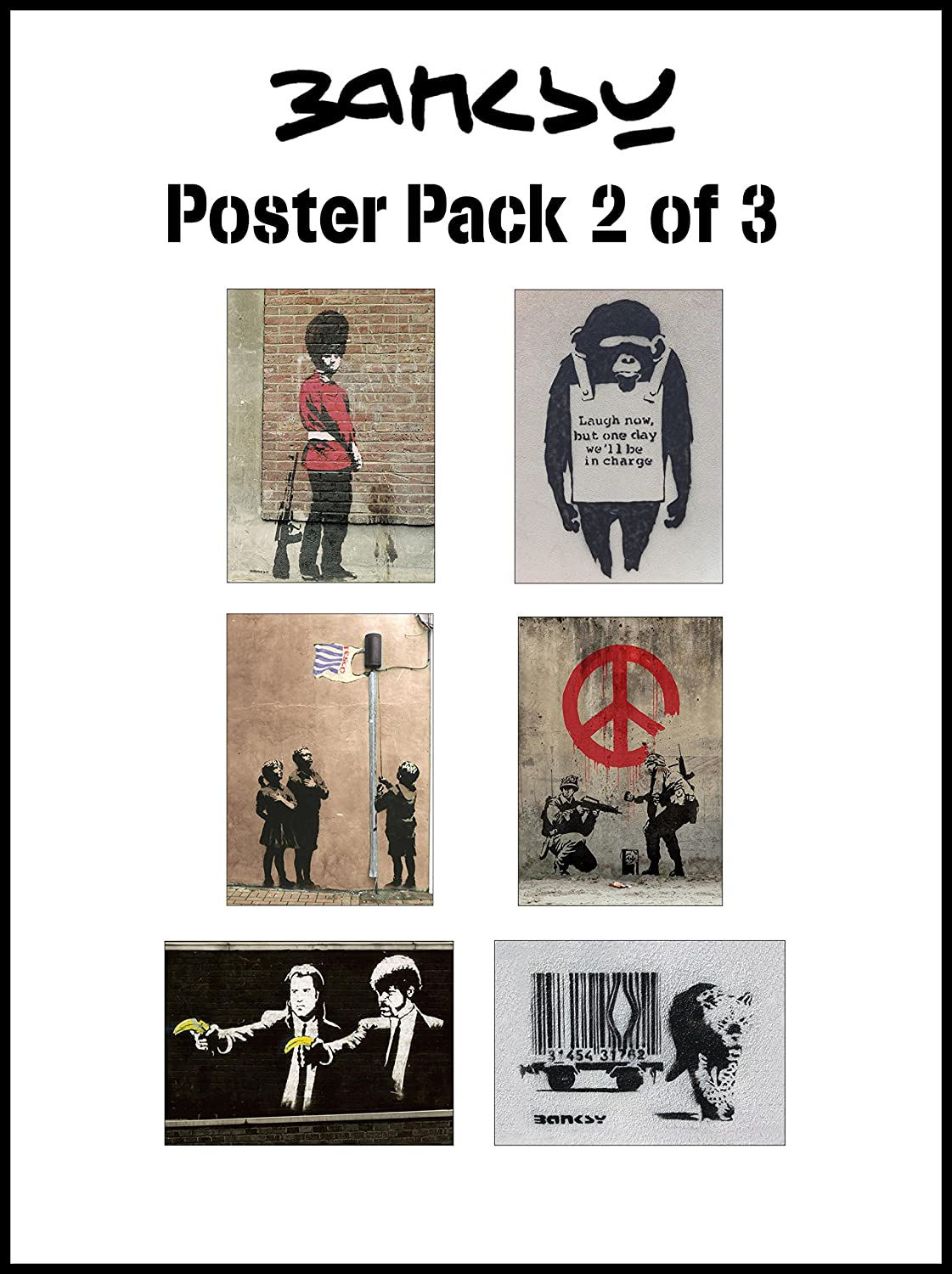 Amazon.com: Banksy Poster Pack 2 of 3 - 6 of Banksys most popular graffiti images - Each poster is A3 (420 x 297 mm): Posters & Prints