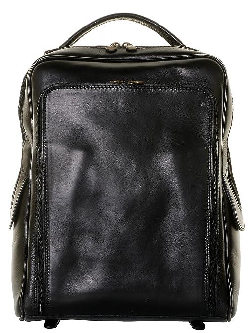 Primo Sacchi Lujo cuero negro italiano niños mayores, jóvenes estilo clásico nuevo Pack mochila bolso
