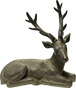 Sagebrook Home 11222 Resting Deer Figurine, Rust Polyresin, 6 x 12.5 x 13.75 Inches