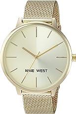 Nine West NW/1981 Sunray Dial - Reloj de pulsera de malla para mujer
