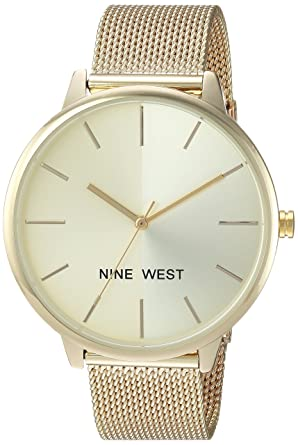 Nine West Womens NW/1980CHGB Gold-Tone Mesh Bracelet Watch