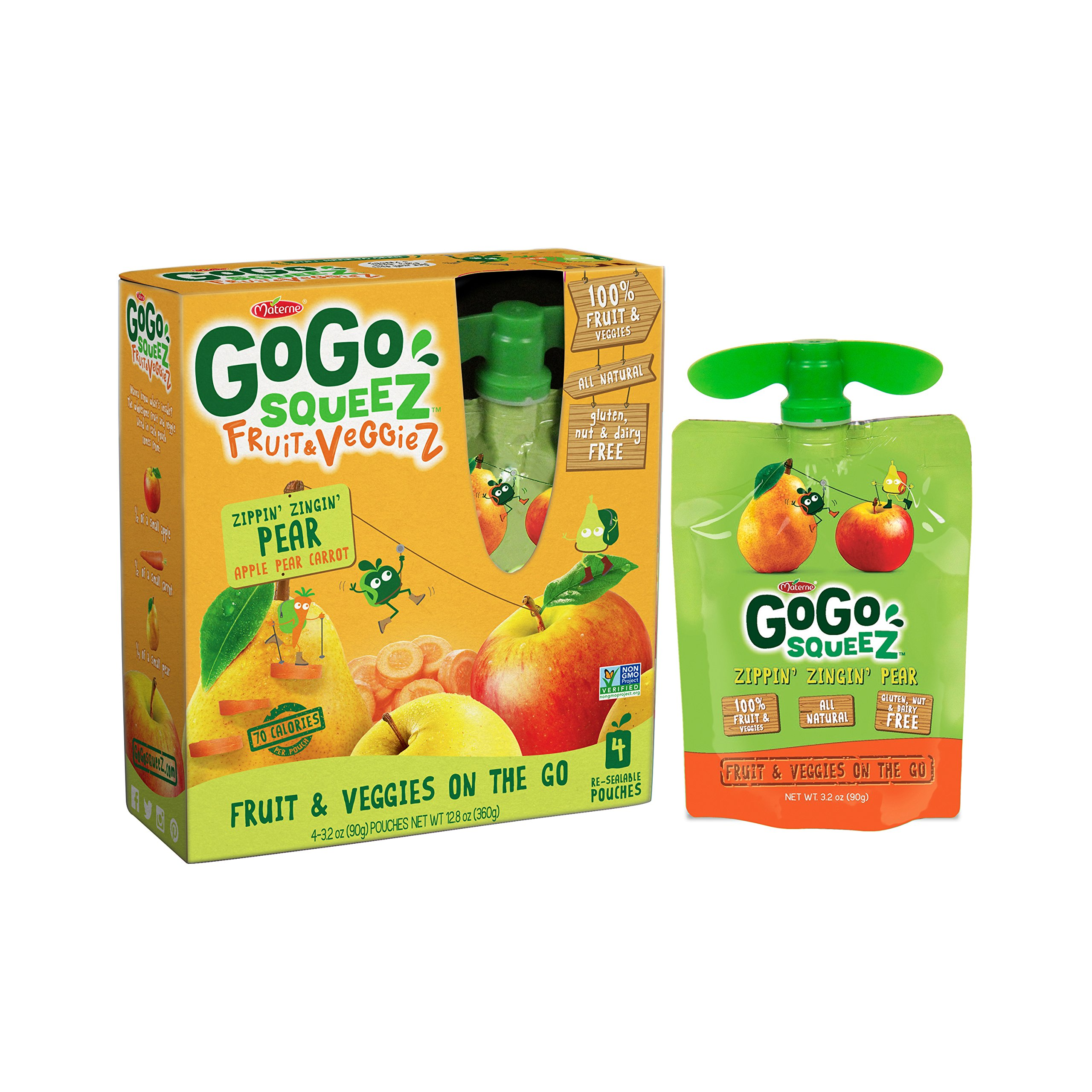 GoGo squeeZ Fruit & VeggieZ, Apple Pear Carrot, 3.2 Ounce Portable BPA-Free Pouches, Gluten-Free, 4 Total Pouches