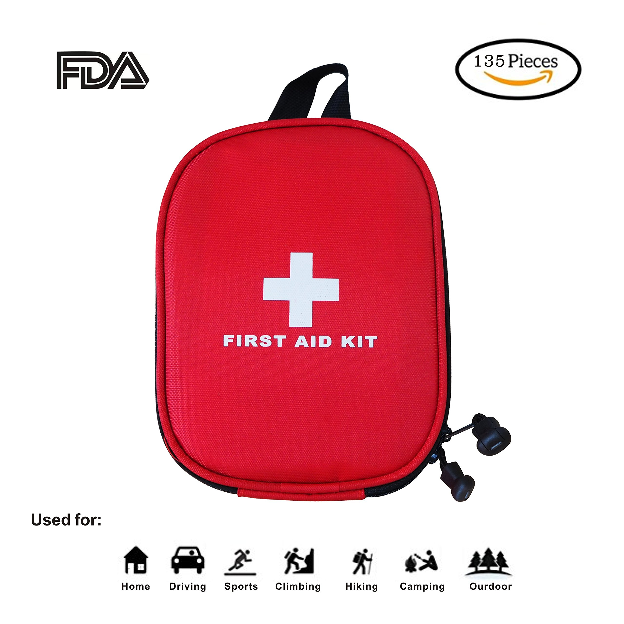 First Aid Kit - 135 Piece - for Car,Travel, Camping, Home,Hiking or Office | Complete Emergency Bag Fully stocked with Medical Supplies