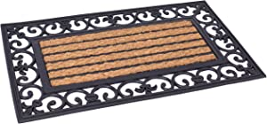 BIRDROCK HOME 18 x 30 Rectangular Natural Coir and Rubber Doormat with Scroll Border - Natural Fibers - Outdoor Doormat - Keeps Your Floors Clean - Decorative Design - Non Brush Coir