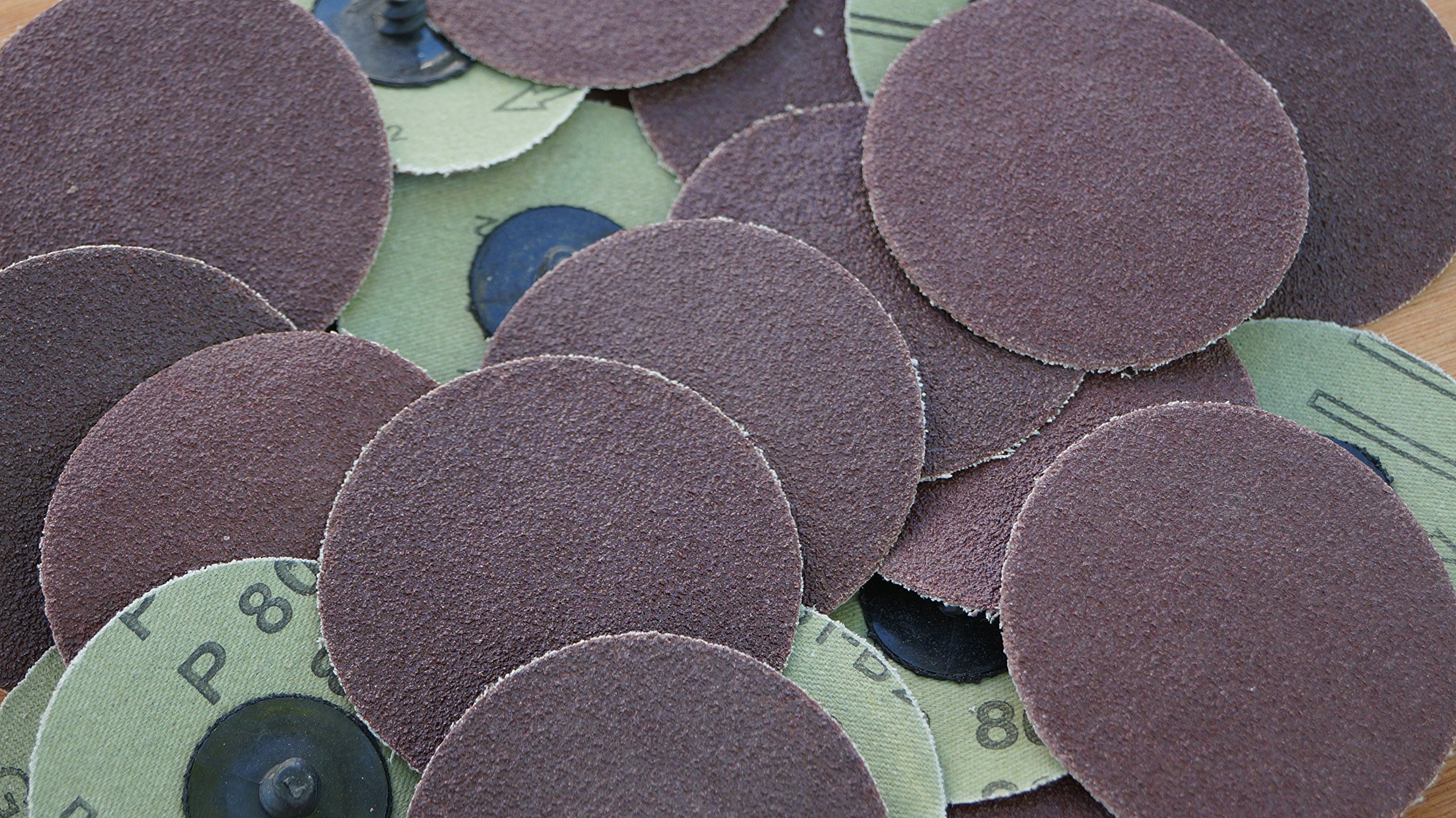 25pc 3'' Roloc Discs 80 Grit R Type Sanding Abrasive Roll Lock Medium Coarse Grain by IIT (Image #1)