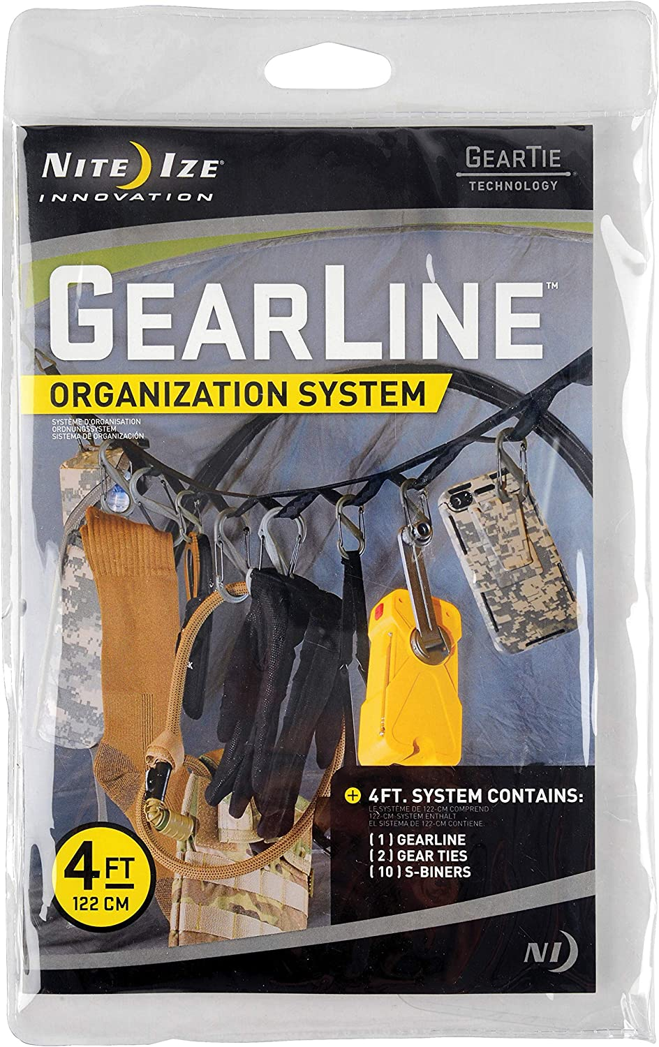 Nite Ize GearLine Hanging Organization System + Bendable Gear Tie Ends To Hang Your Gear Anywhere 4 FT Webbing With Loops Colorful S-Biners S-Biner Clips