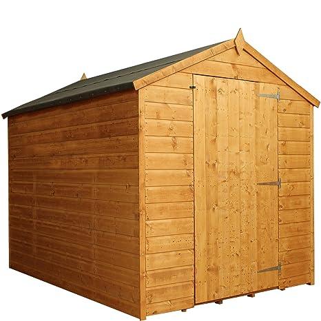 8 x 6 gran puerta lengua sin ventanas y GROOVE Apex techo de madera jardín cobertizo