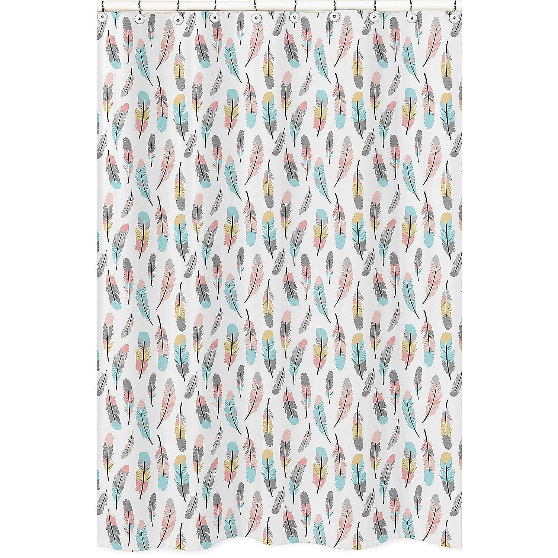 Amazon Sweet Jojo Designs Feather Collection Girls Kids Bathroom Fabric Bath Shower Curtain Baby