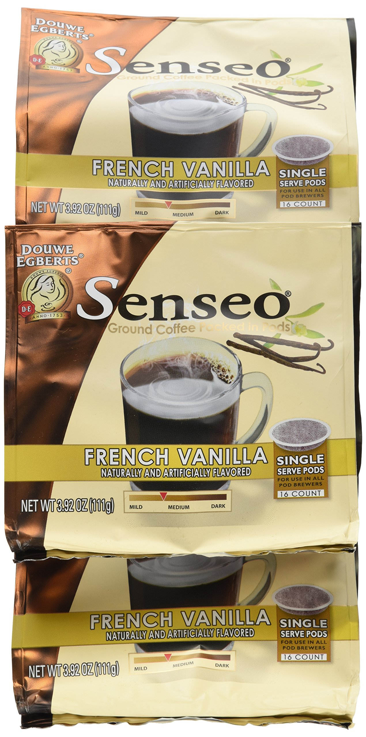Senseo Paris French Vanilla Coffee, 16-Count Pods (Pack of 4)