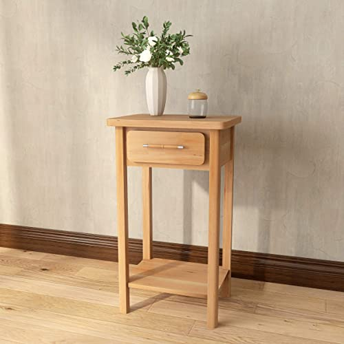 COZAYH 1-Drawer End Table Side Table Nightstand, Clean-Lined Traditional Rustic Style Modern Farmhouse
