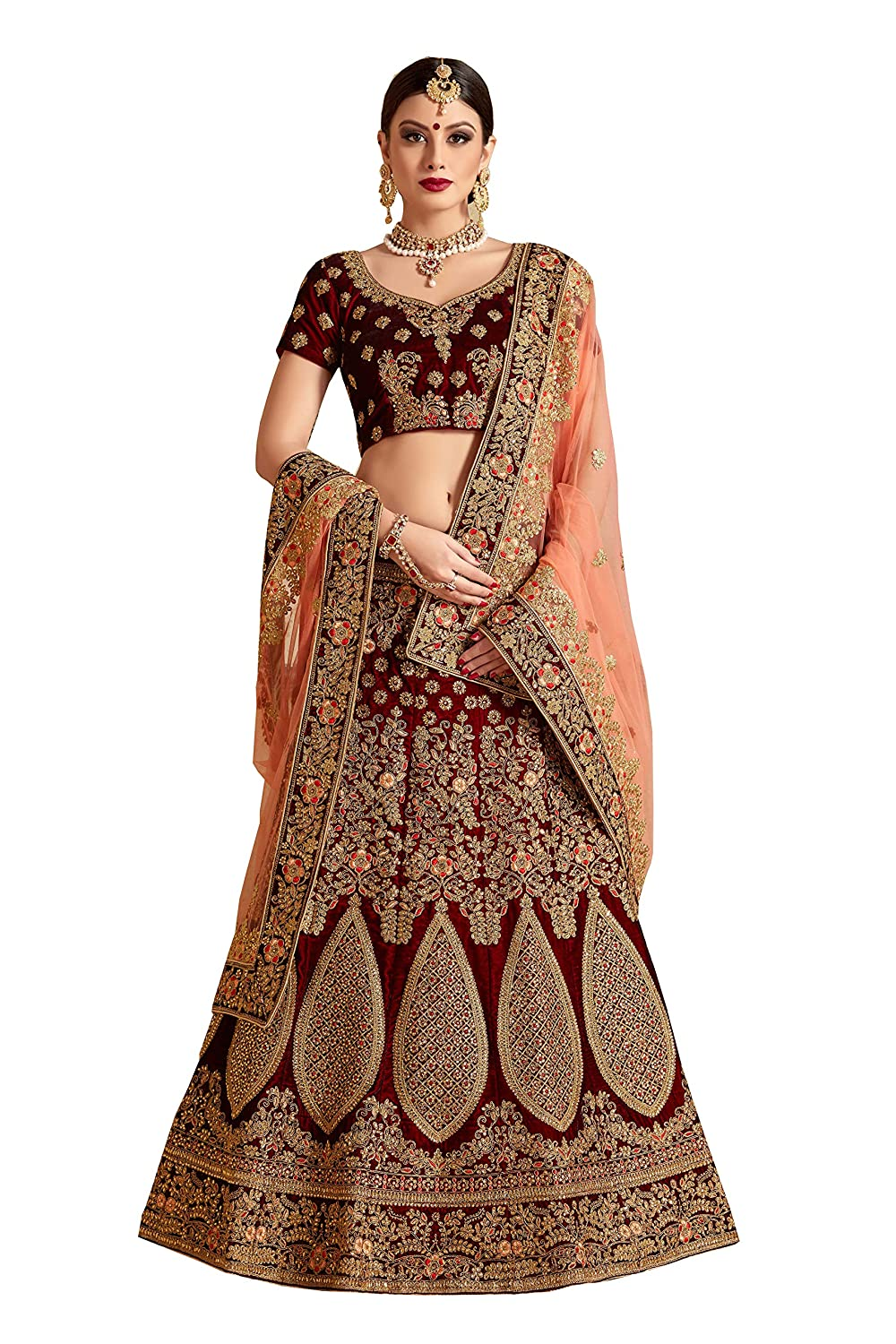 Get 55% Off on Ethnic Wear Designer Lehengas Cholis Pure Velvet & Net Bridal Lehenga Choli for girls Maroon Free size