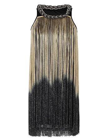 kayamiya Women s Art Deco 1920s Gatsby Fringe Prom Party Flapper Dress  Ombre XS S Beige 449ac7befcf0