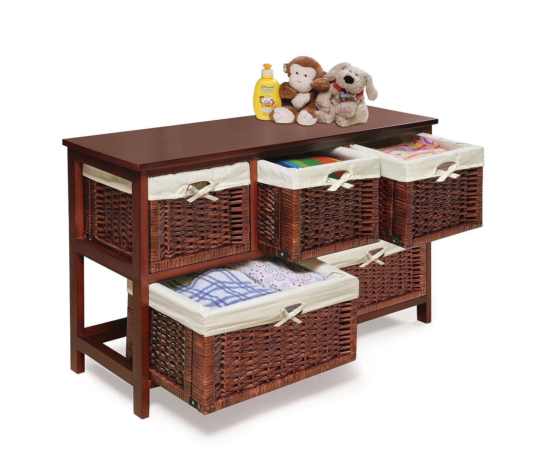 Amazon.com : Badger Basket Five Basket Storage Unit With Wicker Baskets,  Cherry : Nursery Storage Containers : Baby