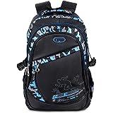 BELK Fashion Blue Camo Schoolbag Student Backpack for Middle School Teen Boy