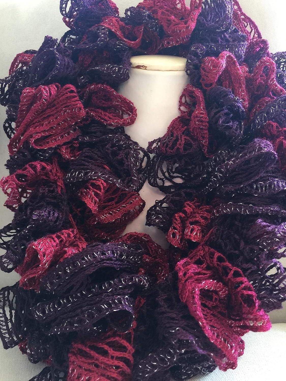 Handmade Crocheted Fashion Ruffle Scarf Cinnamon Spice