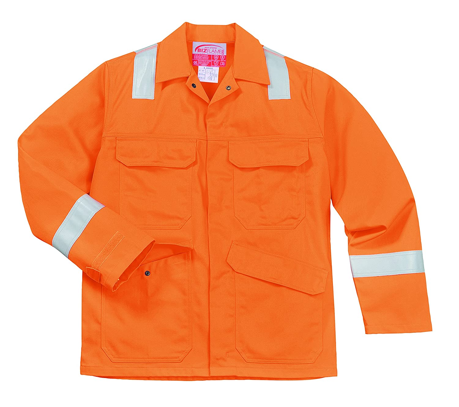 Portwest FR25ORRXXXL Bizflame Plus Jacket Orange Size: 3X-Large Regular