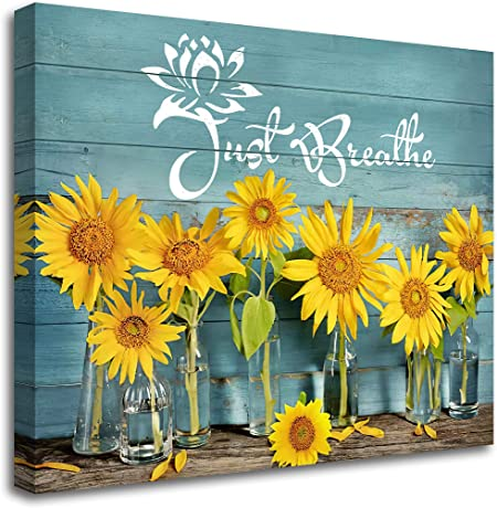 Amazon Com Rustic Just Breathe Wall Art Sunflower Canvas For Bathroom Kitchen Home Teal Decor Modern Floral Artwork Picture Giclee Print Framed Ready To Hang 20x24 Inch Posters