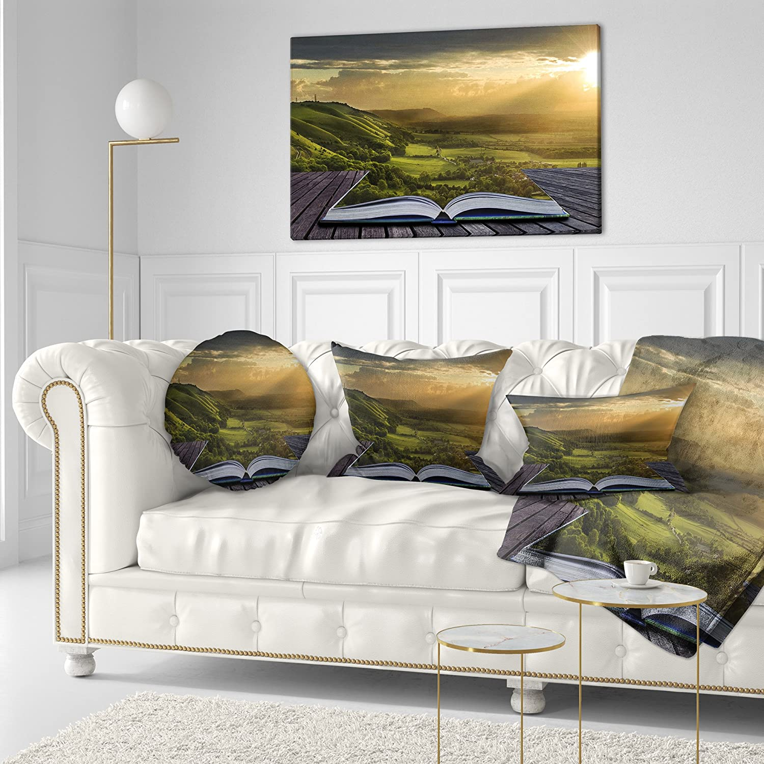 Sofa Throw Pillow 12 x 20 Designart CU6826-12-20 Open Book to Green Valley Digital Art Landscape Printed Lumbar Cushion Cover for Living Room