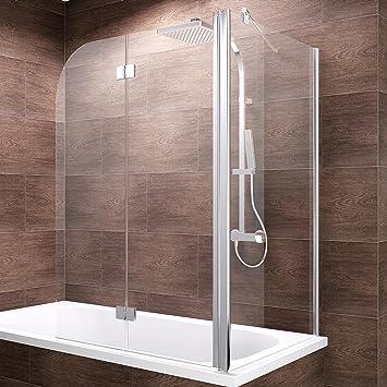 Schulte Duschwand Angle, 120x70x140 cm, 2-teilig faltbar + feste  Seitenwand, Sicherheitsglas klar 6 mm, Profilfarbe chrom-optik,  Duschabtrennung für ...